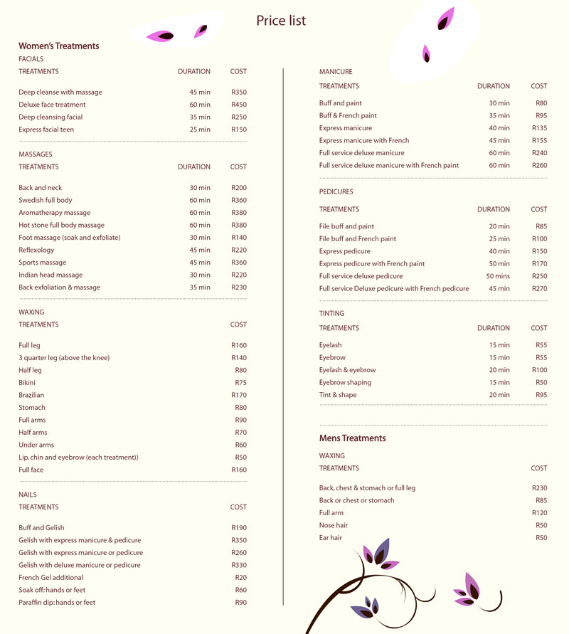 Barkston Beauty Salon  Price List